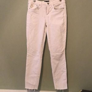 VINCE White Raw Hem Skinny Jeans